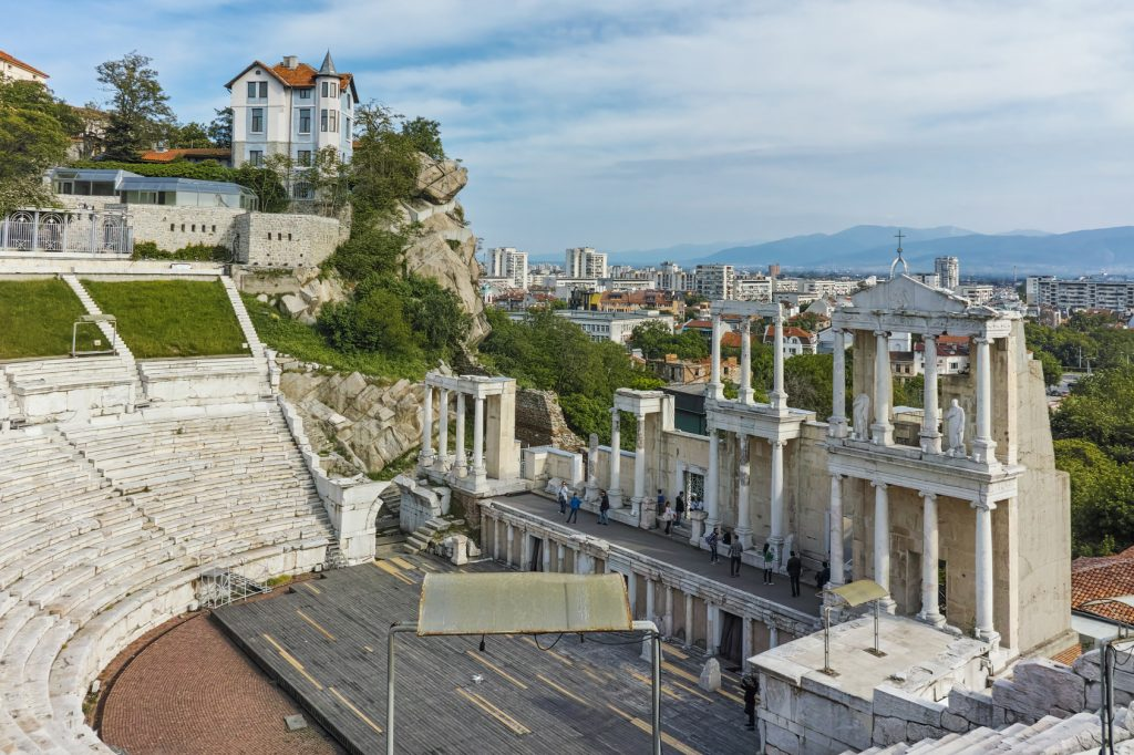 Amazing cityscape and Ancient Roman theatre in Plovdiv, Bulgaria